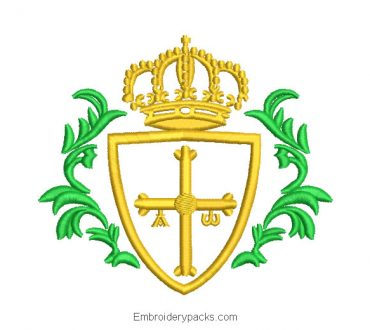 Asturias Cross with Crown Embroidery Design