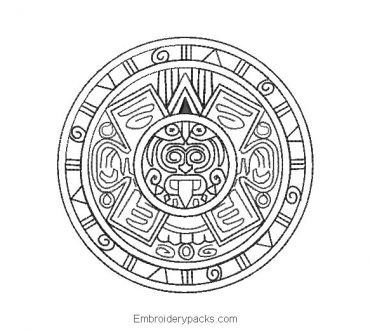 Aztec calendar embroidery design