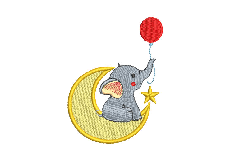 Baby Elephant with Moon Embroidery Design