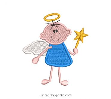Baby angel with magic star embroidery design
