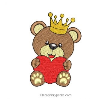 Baby bear embroidery with crown and heart
