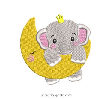 Baby elephant and moon embroidered design
