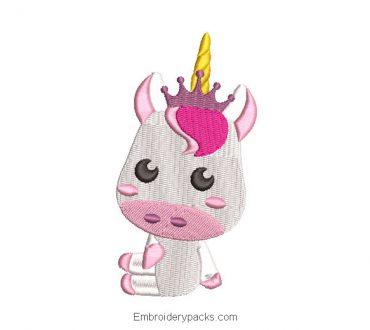 Baby unicorn pony embroidery design