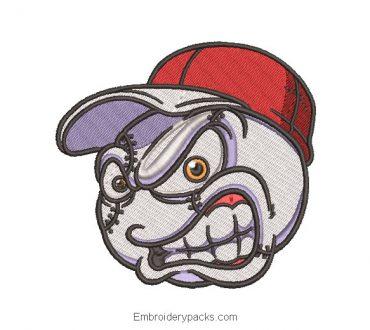 Baseball ball face embroidery design