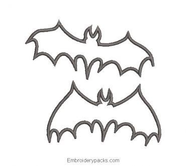 Bat design for embroidery machine