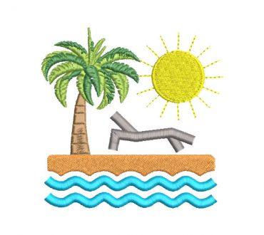 Beach Landscape Embroidery Designs
