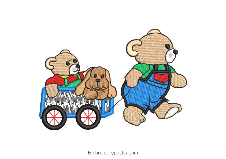 Bears in Cart Embroidery Design