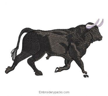 Black Bull Machine Embroidered Design