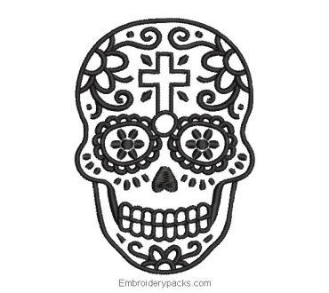 Black catrina skull embroidery design