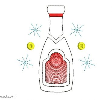 Bottle embroidery design for new year