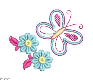 Butterfly embroidery with flowers