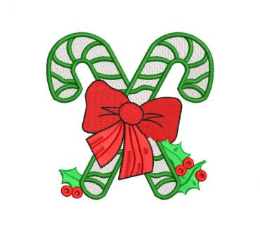 Candy Cane for Christmas Embroidery Designs