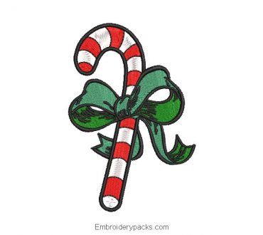 Candy cane with bow for Christmas