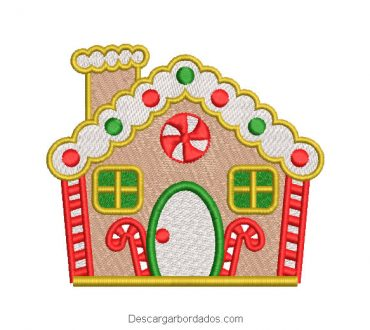 Candy house embroidery design for christmas