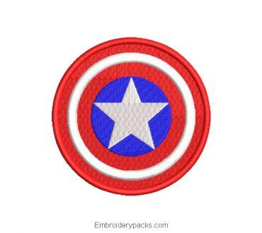 Captain America Shield Embroidered Design