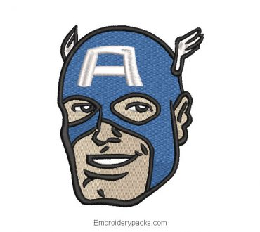 Captain America face embroidery design