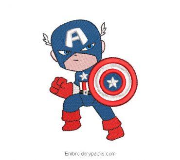 Cartoon Baby Captain America Superhero Embroidery Design