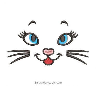 Cat face design for machine embroidery