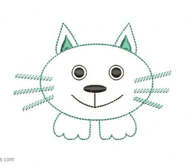 Cat face embroidered design