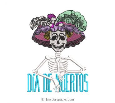 Catrina skull embroidery day of the dead