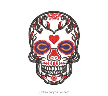 Catrina skull embroidery design with heart