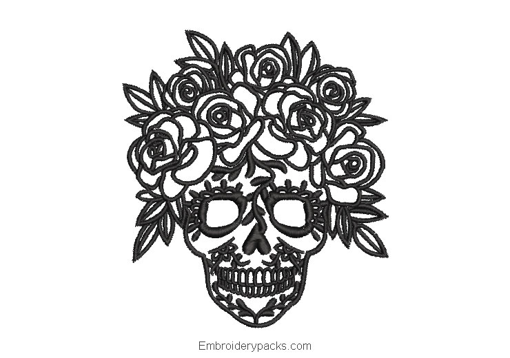 Catrina skull face embroidery design with roses