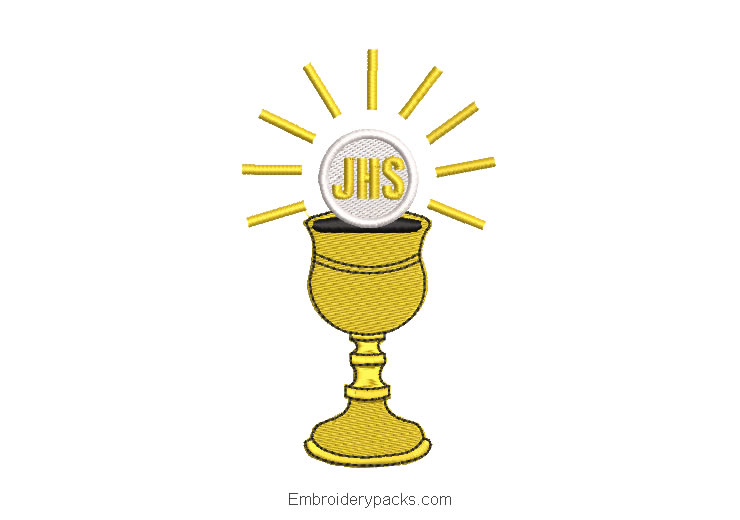 Chalice cup embroidered design for christening