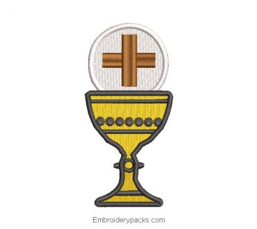 Chalice cup embroidered design with cross