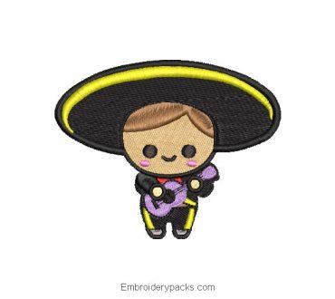 Charrito Mexican doll embroidery design