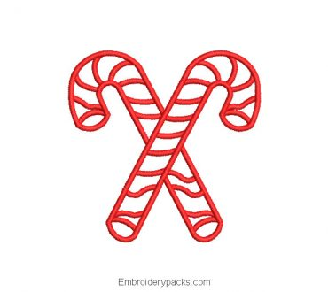 Christmas Cane Embroidery Design