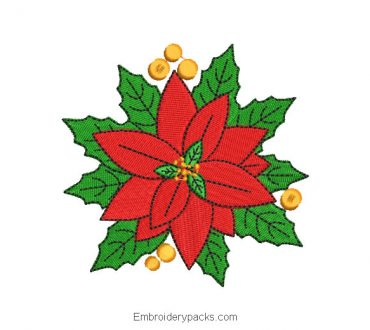 Christmas Eve Flowers Embroidered Design