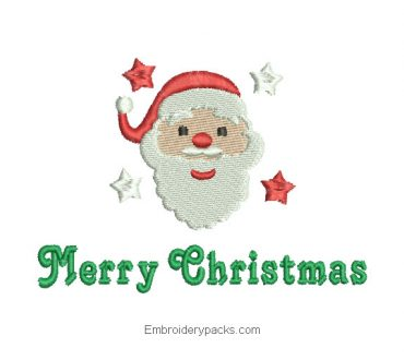 Christmas Santa Embroidery with Merry Christmas Letter
