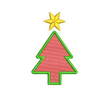 Christmas Tree with Star Embroidery Designs