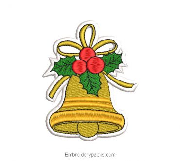 Christmas bell with bow embroidered design
