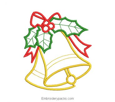 Christmas bell with leaves machine embroidery