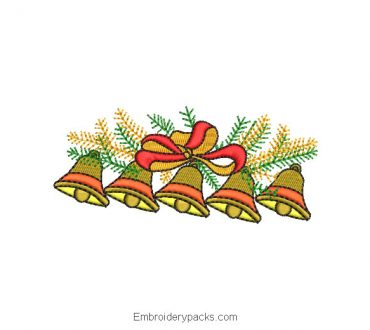 Christmas bells embroidered designs