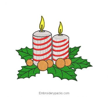 Christmas candle machine embroidery design