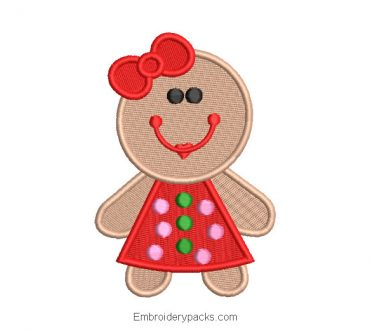 Christmas cookie character embroidery design