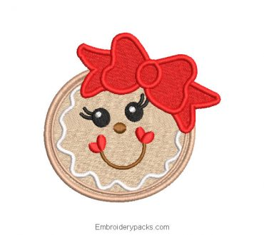 Christmas cookie embroidered design with bow