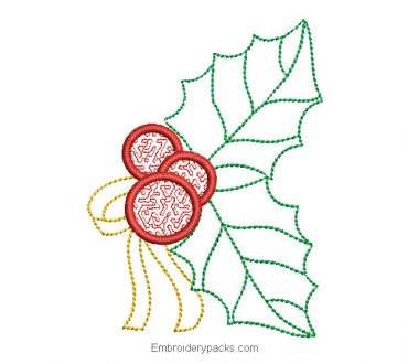 Christmas holly embroidery for machine