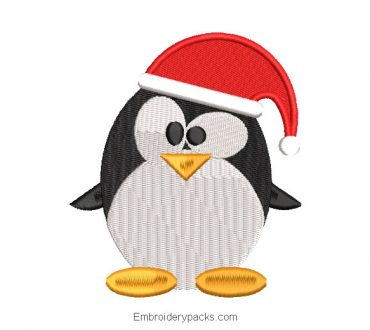 Christmas penguin with cap embroidery design