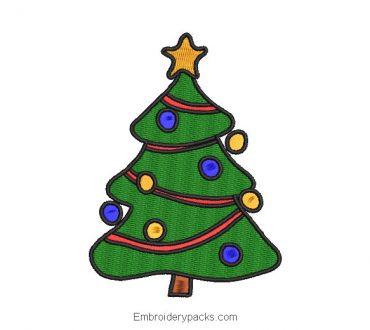 Christmas pine tree embroidery design