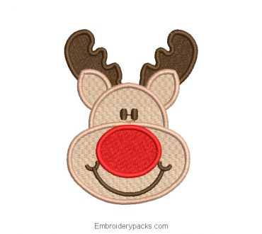 Christmas reindeer face embroidery
