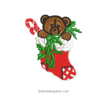 Christmas stockings with bear embroidery design
