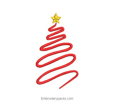 Christmas tree embroidered design outlined with star