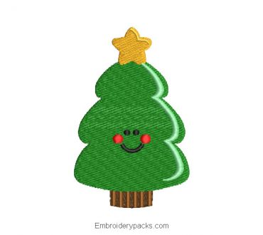 Christmas tree face for machine embroidery