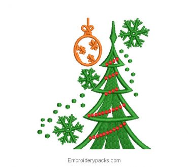 Christmas tree with lights embroidery design