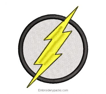 Circle with lightning bolt embroidery design