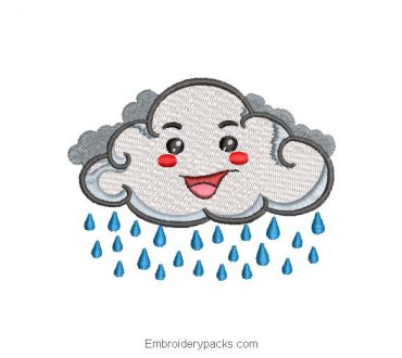 Cloud Embroidery Design With Raindrops