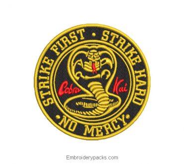 Cobra kai shield embroidery design